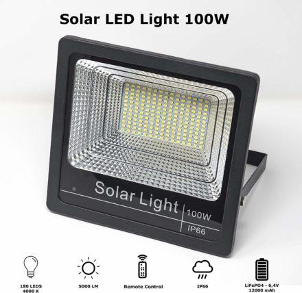 Luz Reflector Solar Led 100w Panel Autónomo Ahorro energia 8