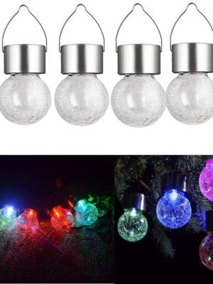 Luces solares de bola de cristal para colgar lámpara mosai LED luces de Navidad decorativo multicolor pack x 6
